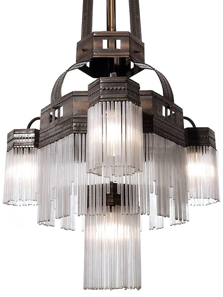 Large Original Multilayered Jugendstil Chandelier In Good Condition For Sale In Peekskill, NY