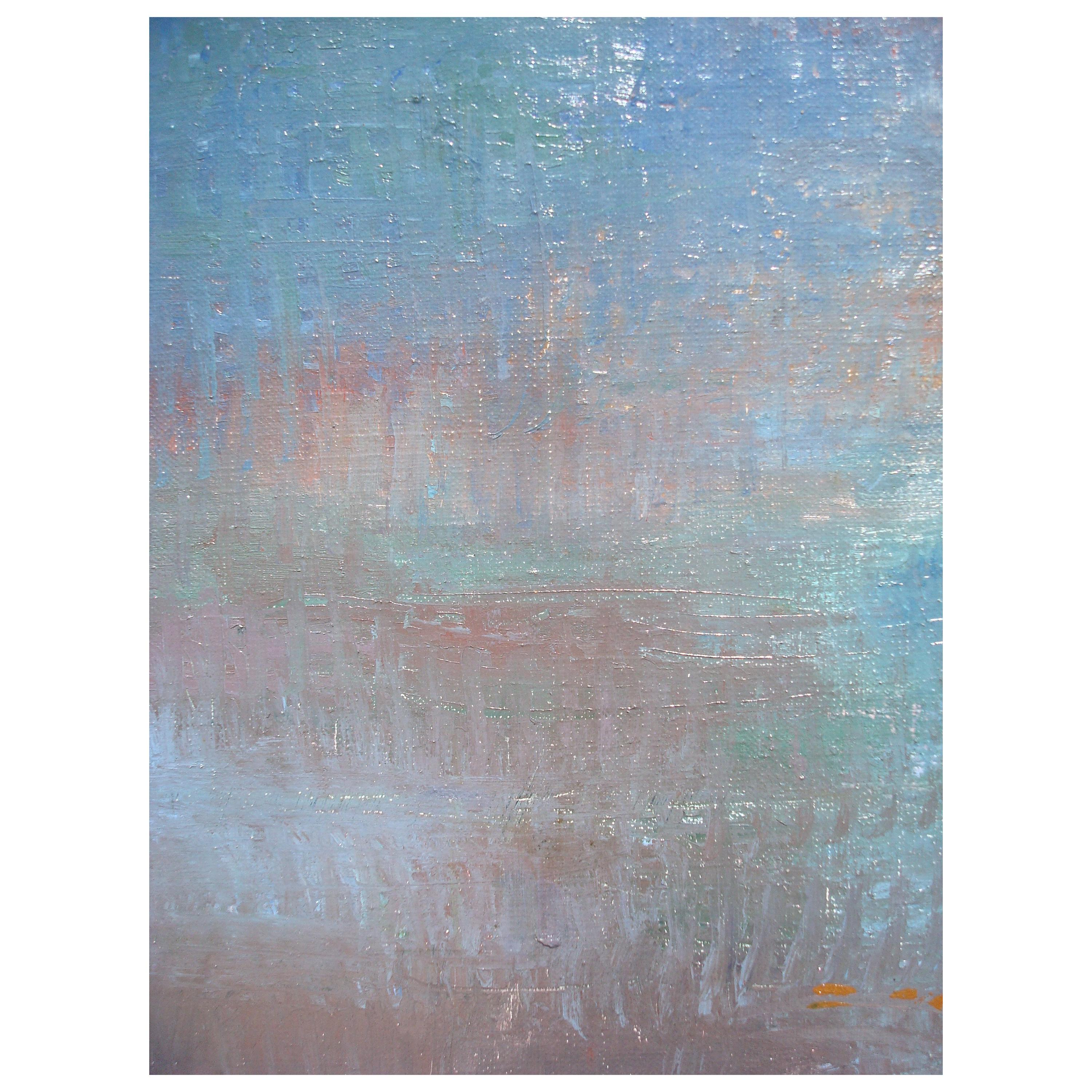 Large Original Oil on Canvas Abstract Painting, Prominent Blue
