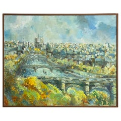 Large Original Oil on Canvas Cityscape of Paris by Guy Buffett