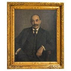 Large Original Oil on Canvas Portrait of Knud Larsen, Signed Knud L and Dated