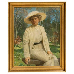 Large Original Oil on Canvas Portrait of Lady Sitting on Park Bench, Signed by C