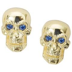 Large Original Rebel Stud Earrings with Blue Sapphires