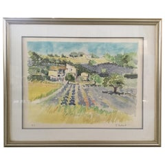 Large Original Signed Watercolor of Provence with Silver Frame
