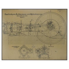 Large Original Technical Drawing of Air Compressor, 1925