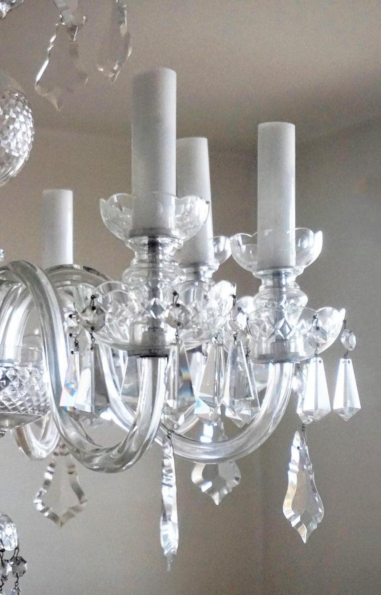 Large Original Venetian Handcrafted Murano Crystal Chandelier, Italy, 1910-1920 For Sale 2