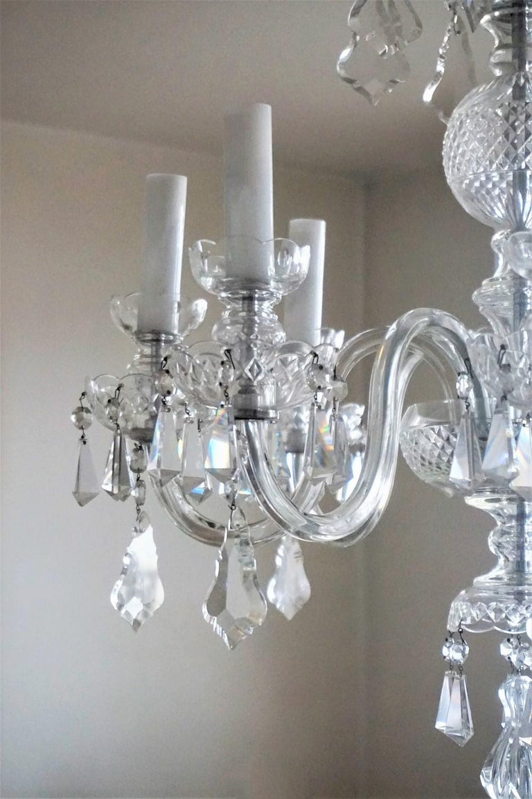 Large Original Venetian Handcrafted Murano Crystal Chandelier, Italy, 1910-1920 For Sale 3