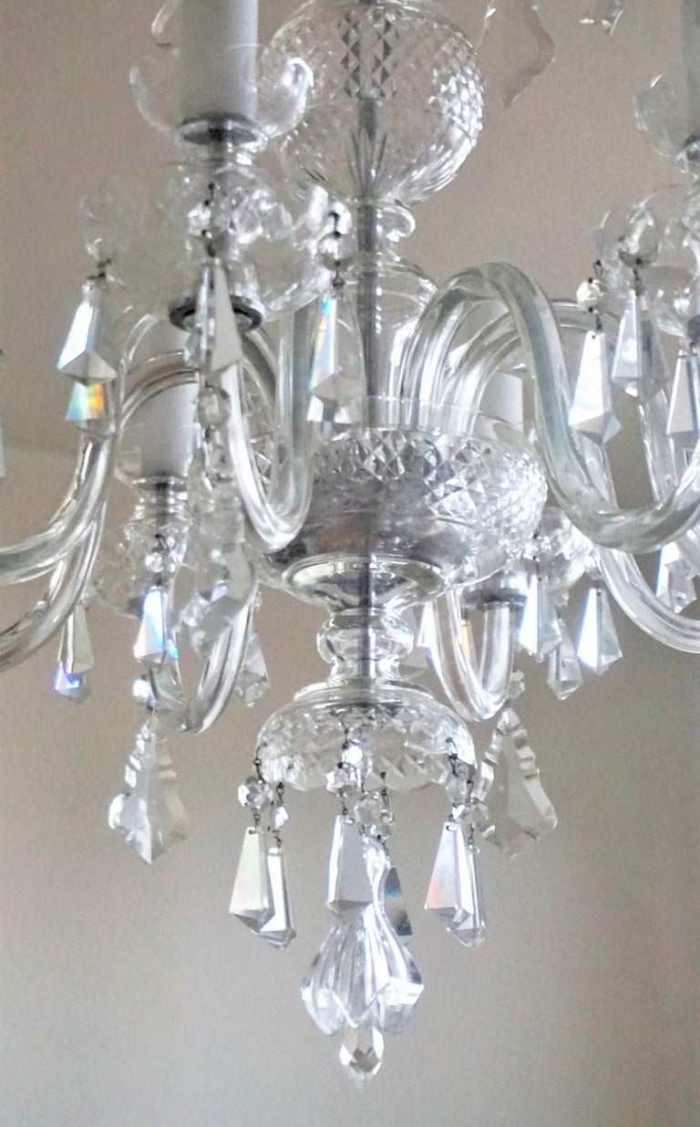 Large Original Venetian Handcrafted Murano Crystal Chandelier, Italy, 1910-1920 For Sale 5