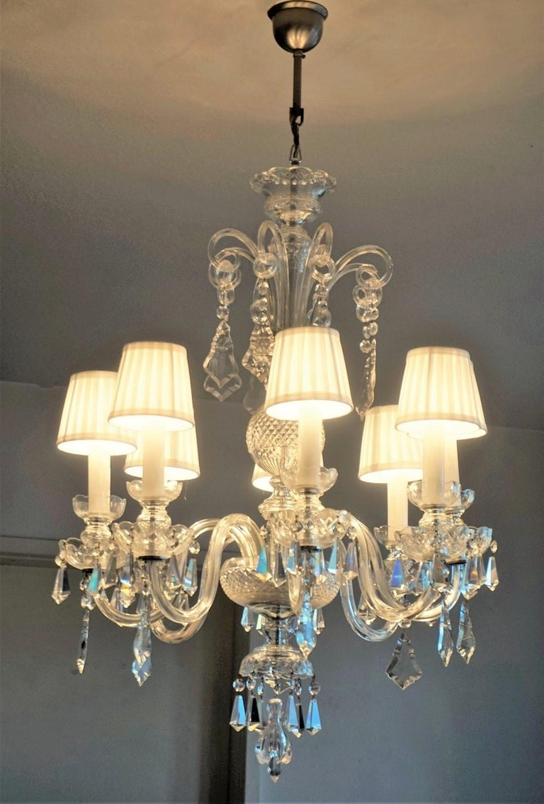 Faceted Large Original Venetian Handcrafted Murano Crystal Chandelier, Italy, 1910-1920 For Sale