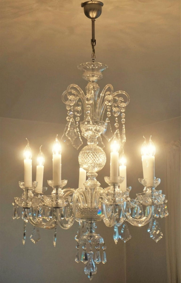 Large Original Venetian Handcrafted Murano Crystal Chandelier, Italy, 1910-1920 In Good Condition For Sale In Frankfurt am Main, DE