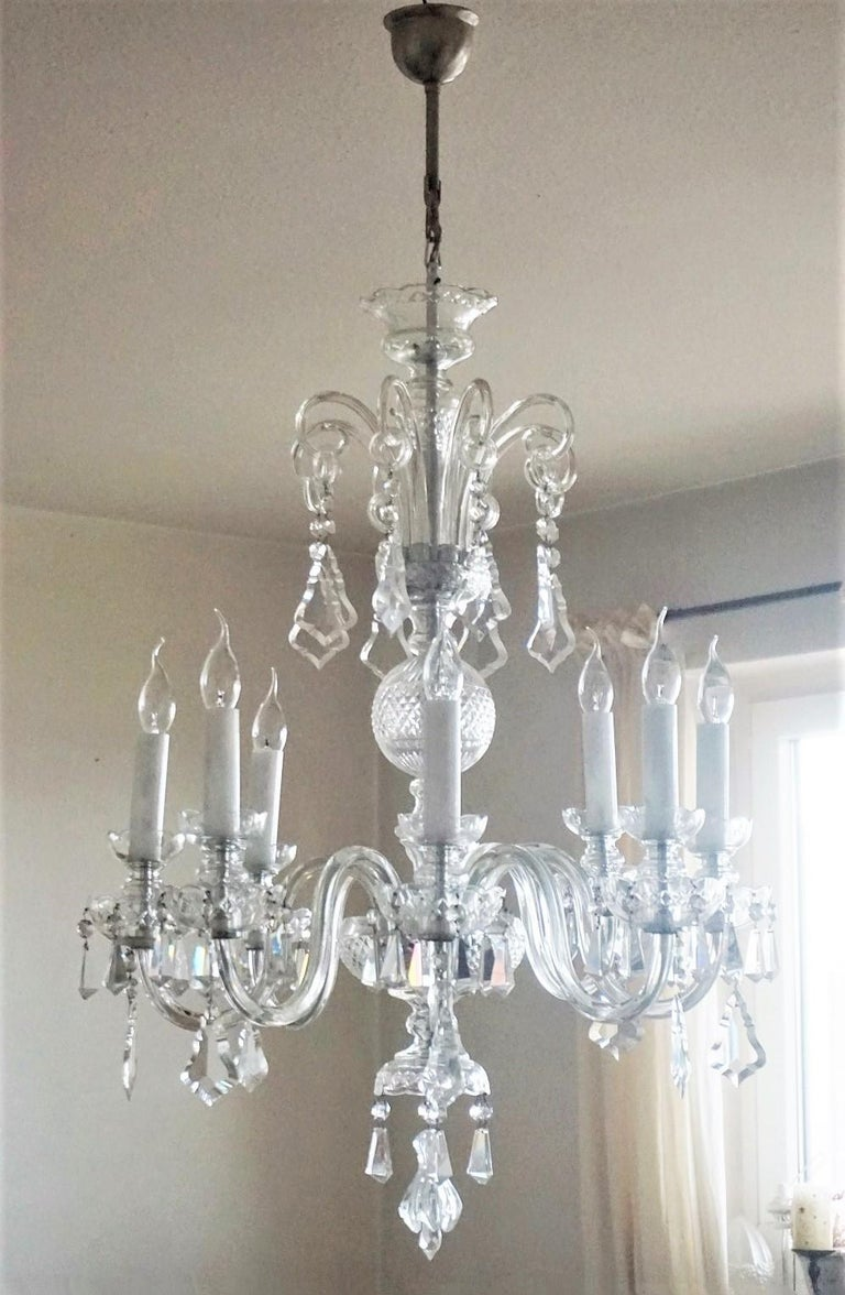 20th Century Large Original Venetian Handcrafted Murano Crystal Chandelier, Italy, 1910-1920 For Sale