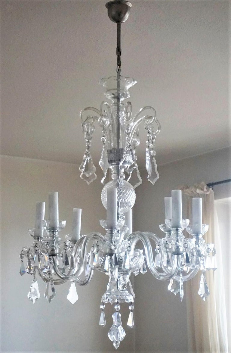 Brass Large Original Venetian Handcrafted Murano Crystal Chandelier, Italy, 1910-1920 For Sale