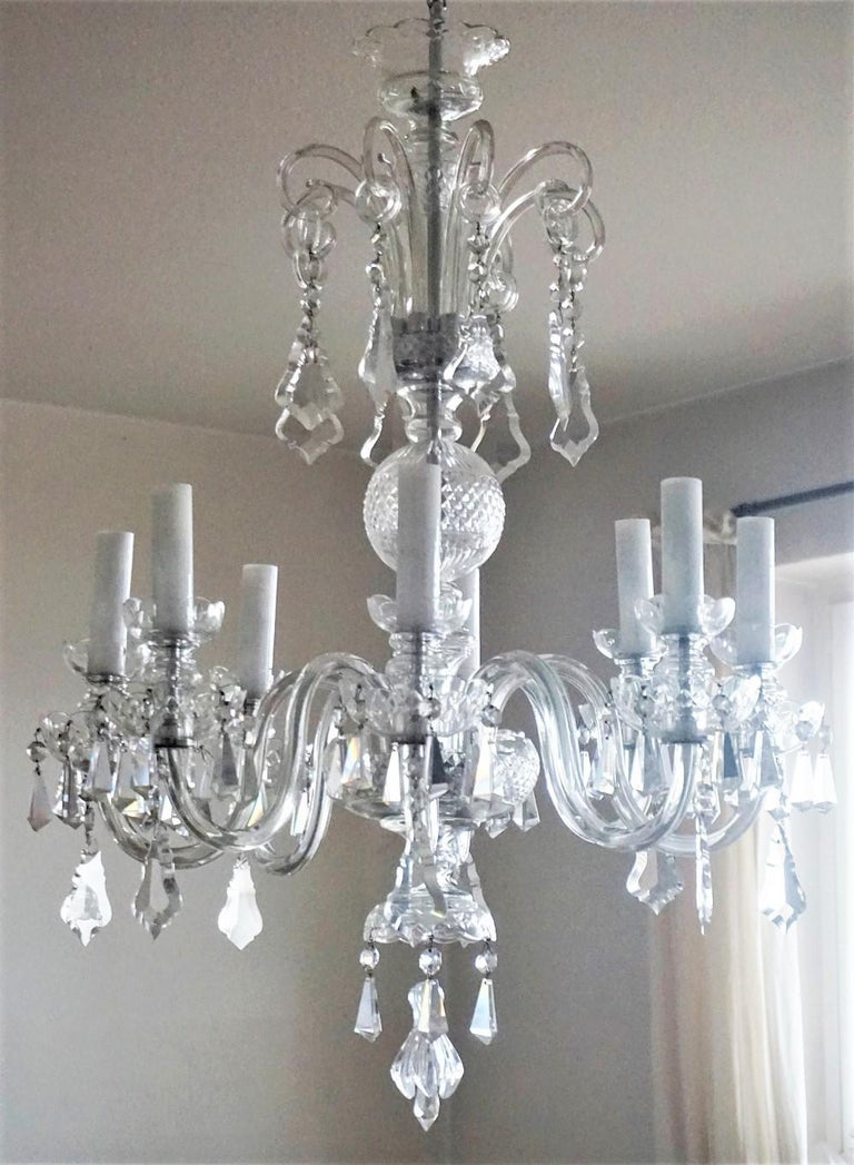 Large Original Venetian Handcrafted Murano Crystal Chandelier, Italy, 1910-1920 For Sale 1