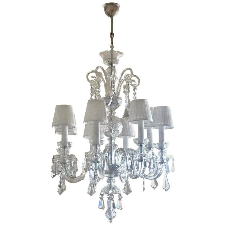 Large Original Venetian Handcrafted Murano Crystal Chandelier, Italy, 1910-1920 For Sale