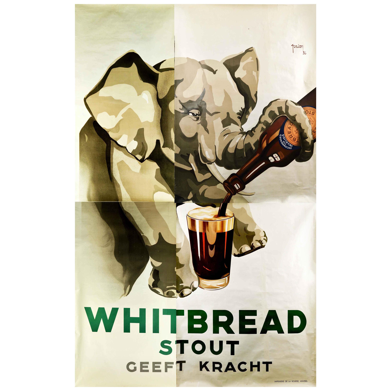 Large Original Vintage Beer Drink Poster Whitbread Stout Gives Strength Elephant