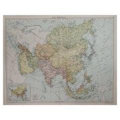 Large Original Vintage Map of Asia, circa 1920