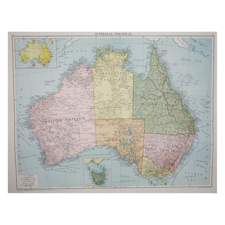Large Original Vintage Map of Australia, circa 1920 For Sale