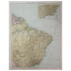 Large Original Vintage Map of Brazil, circa 1920