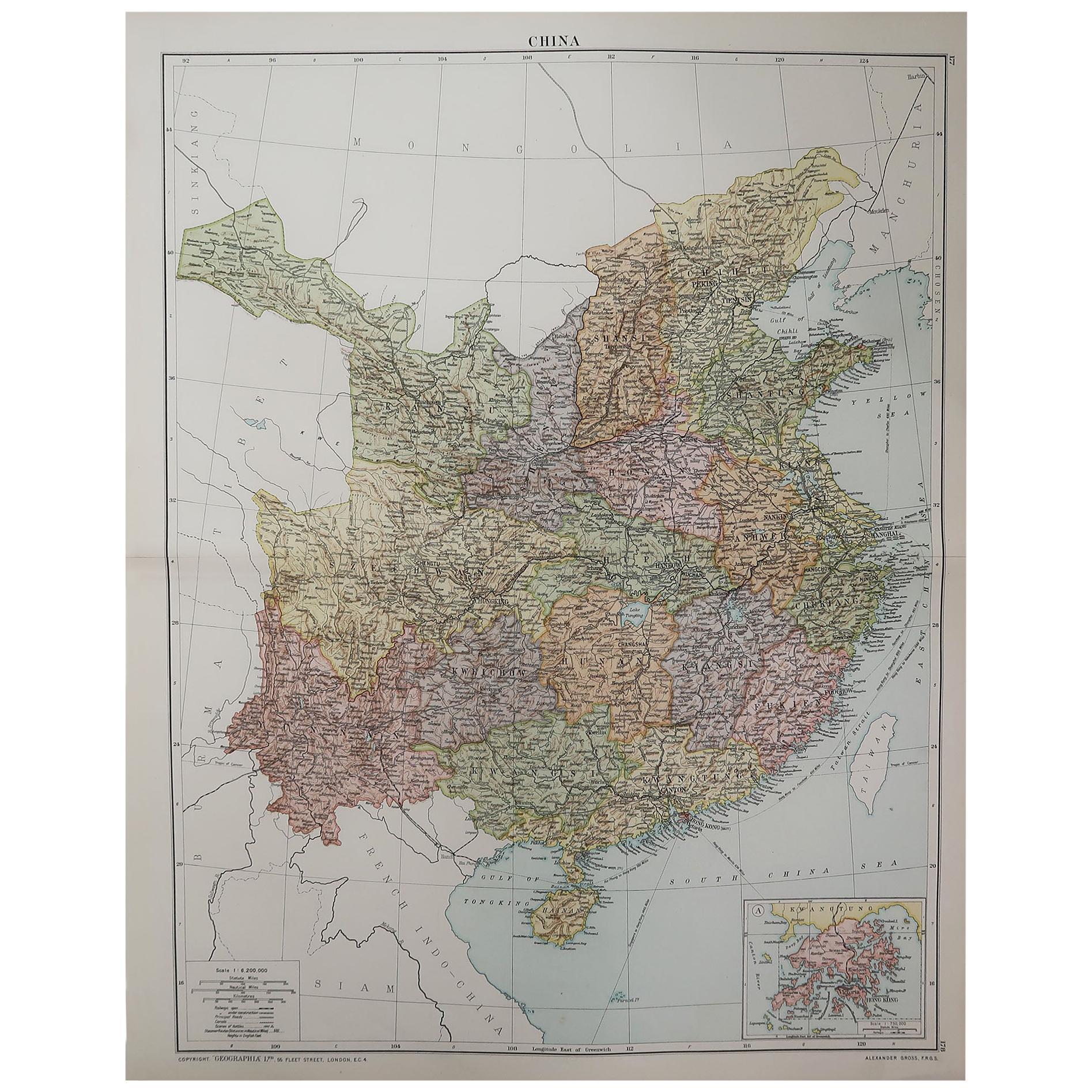 Large Original Vintage Map of China, circa 1920
