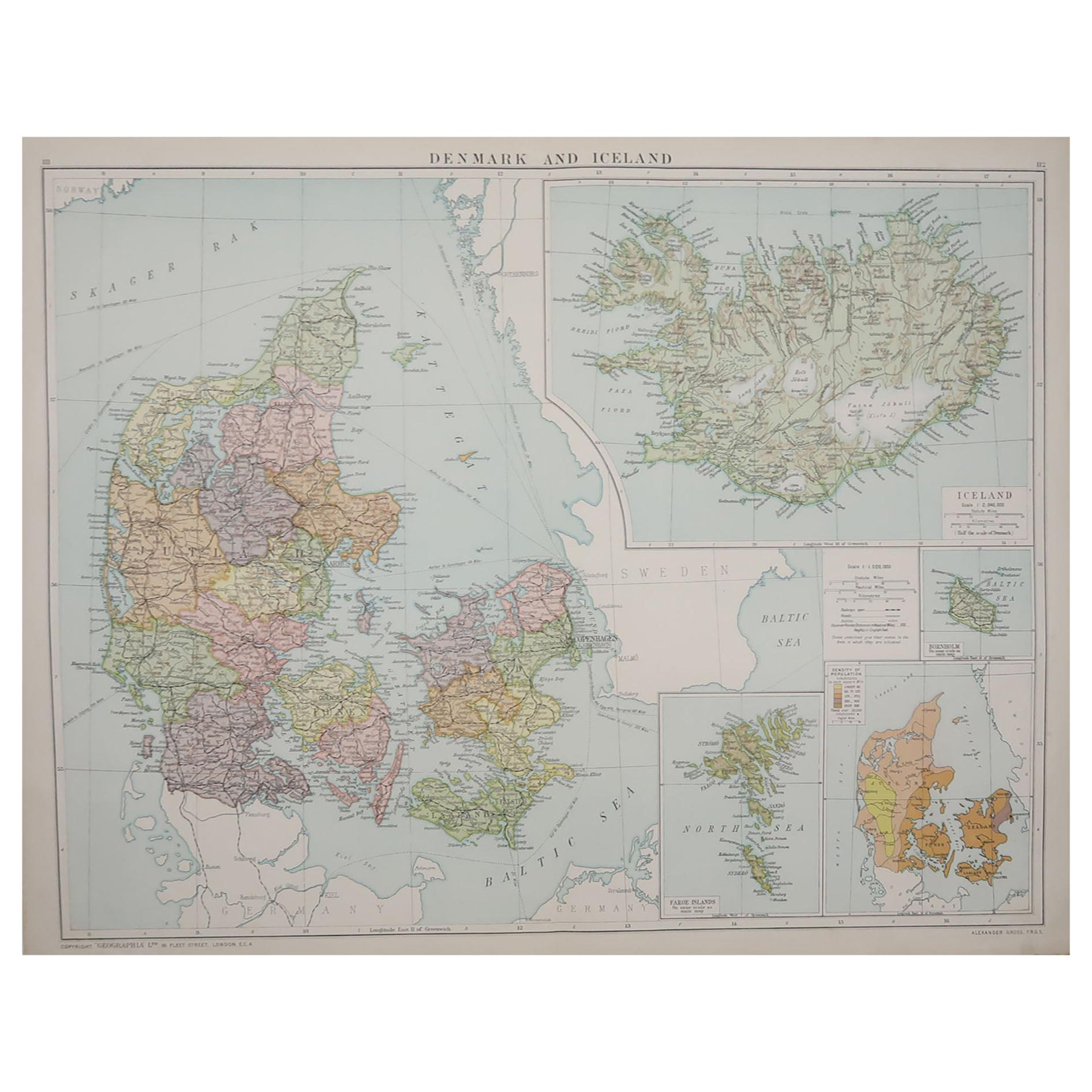 Large Original Vintage Map of Iceland, circa 1920