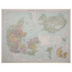 Large Original Vintage Map of Iceland, circa 1920