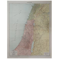 Large Original Vintage Map of Israel, circa 1920