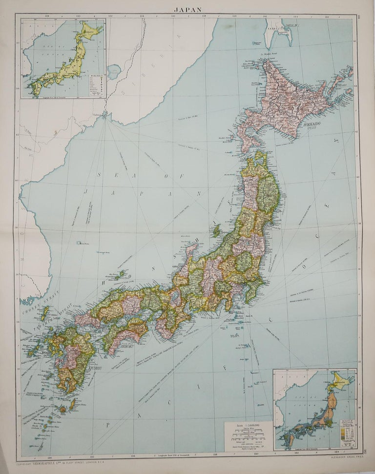 Great map of Japan  Original color. Good condition  Published by Alexander Gross  Unframed.