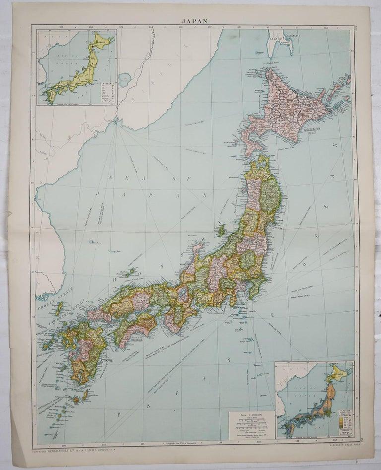 English Large Original Vintage Map of Japan, circa 1920 For Sale