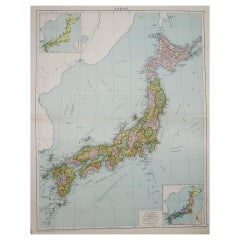Large Original Vintage Map of Japan, circa 1920