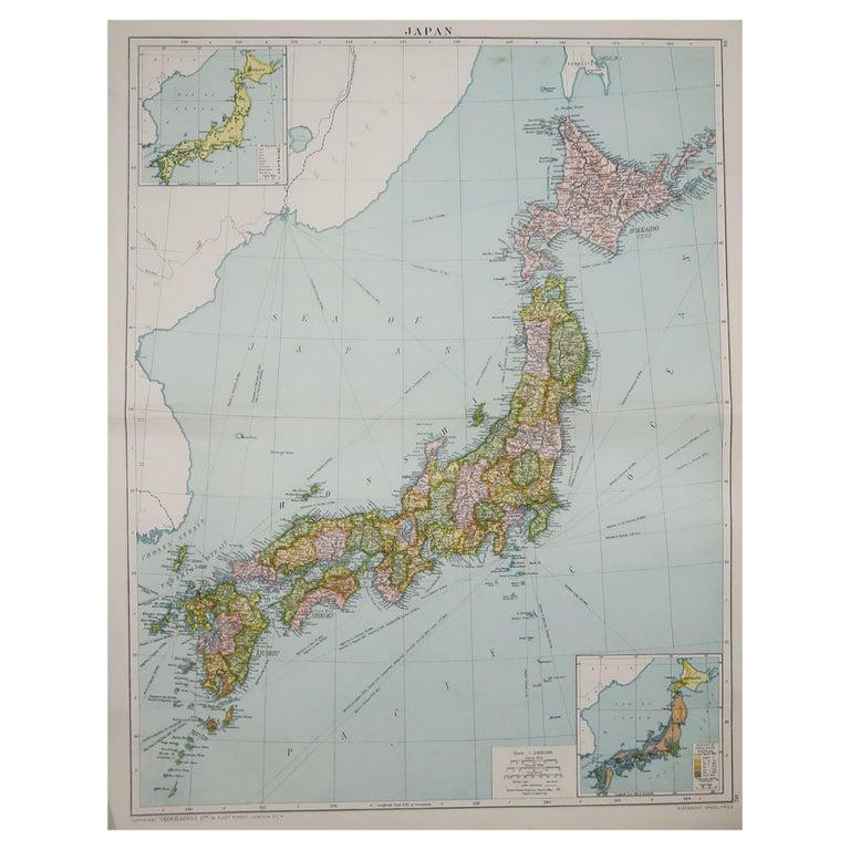 Large Original Vintage Map of Japan, circa 1920 For Sale