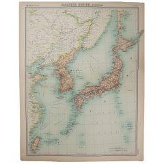 Large Original Vintage Map of Japan, circa 1920
