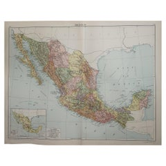Large Original Vintage Map of Mexico, circa 1920