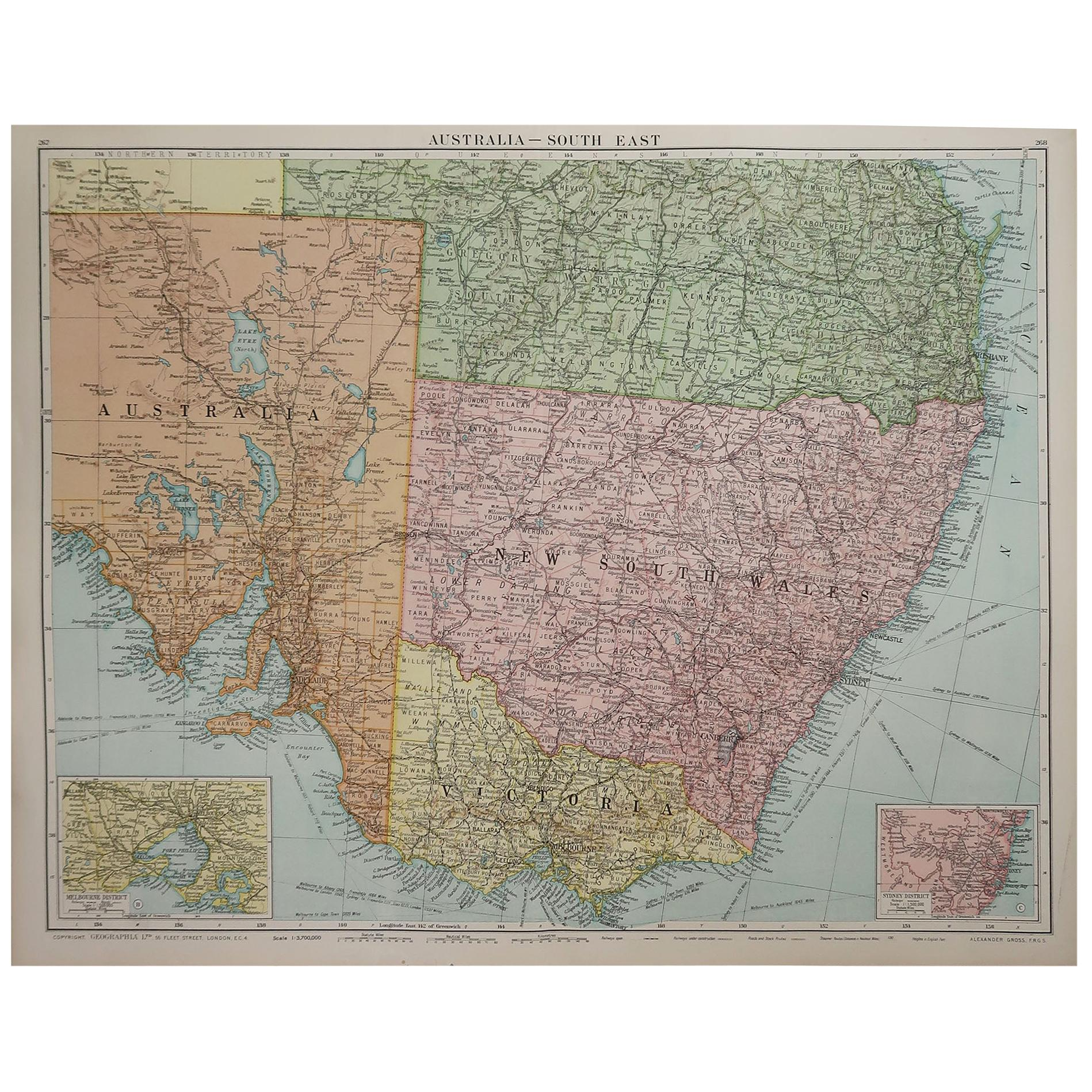 Large Original Vintage Map of New South Wales, Australia, circa 1920