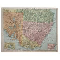 Large Original Vintage Map of New South Wales, Australia, circa 1920