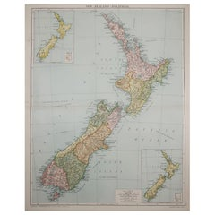 Large Original Vintage Map of New Zealand, circa 1920
