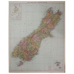 Large Original Vintage Map of New Zealand, South Island, circa 1920