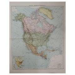 Large Original Vintage Map of North America, circa 1920