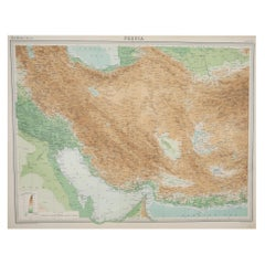 Large Original Vintage Map of Persia / Iran, circa 1920