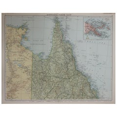 Large Original Vintage Map of Queensland, Australia, circa 1920