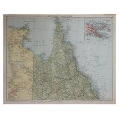 Large Original Vintage Map of Queensland, Australia, circa 1920