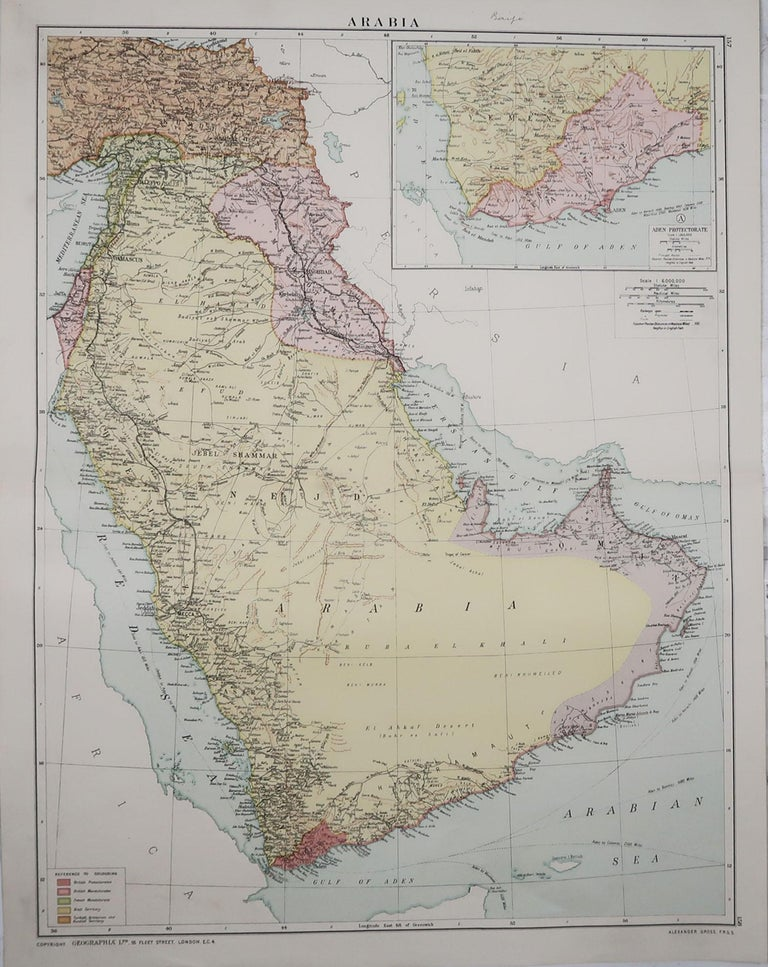 Great map of Saudi Arabia  Original color. Good condition  Published by Alexander Gross  Unframed.