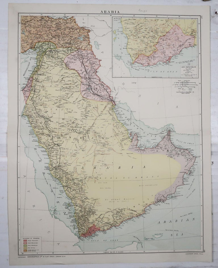 English Large Original Vintage Map of Saudi Arabia, circa 1920 For Sale
