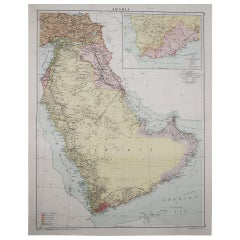 Large Original Vintage Map of Saudi Arabia, circa 1920