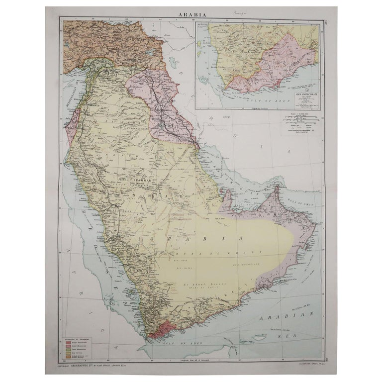 Large Original Vintage Map of Saudi Arabia, circa 1920 For Sale