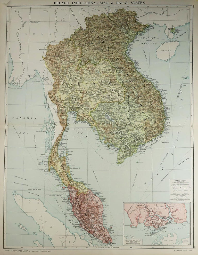 Great map of South East Asia   Original color. Good condition  Published by Alexander Gross  Unframed.