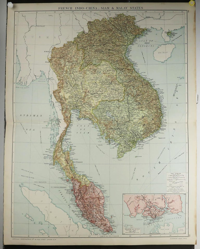 English Large Original Vintage Map of S.E Asia, with a Vignette of Singapore For Sale