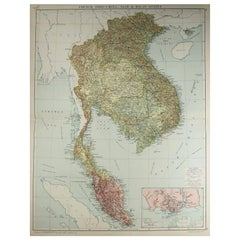 Large Original Vintage Map of S.E Asia, with a Vignette of Singapore