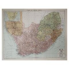 Large Original Vintage Map of South Africa, circa 1920