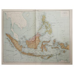 Large Original Vintage Map of South East Asia, circa 1920