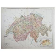 Large Original Vintage Map of Switzerland, C.1920