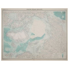 Large Original Vintage Map of The North Pole, circa 1920